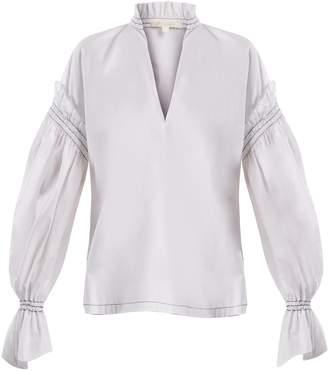 Jonathan Simkhai Ruffled-collar cotton-poplin blouse