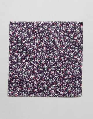 Asos DESIGN ditsy print floral pocket square in burgundy