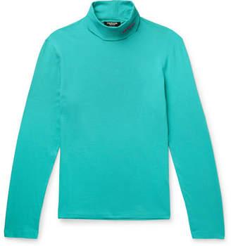 Calvin Klein Slim-Fit Logo-Embroidered Stretch-Cotton Jersey Rollneck T-Shirt