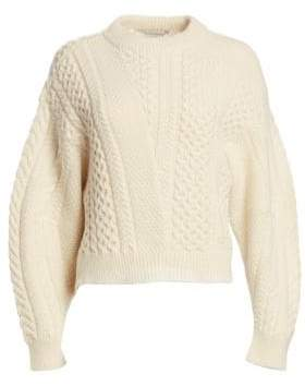 Stella McCartney Cropped Wool-Blend Cable Knit Sweater