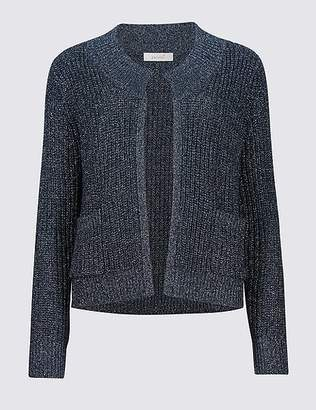 Marks and Spencer Textured Round Neck Long Sleeve Cardigan