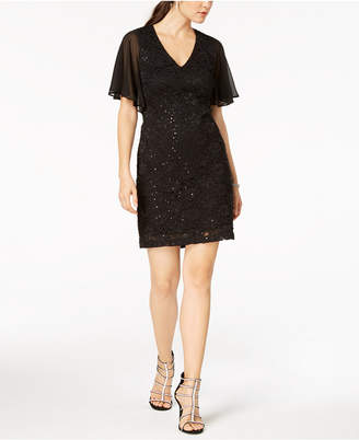 Connected Flutter-Sleeve Embellished Lace Dress
