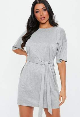 Missguided Gray Glitter Tie Waist T-Shirt Dress