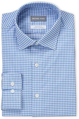 Michael Kors Empire Blue Check Regular Fit Dress Shirt