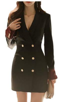 9dd1ba1e1857 jxfd Women Fashion V-Neck Double-Breasted Long Sleeve Blazer Mini Dress S