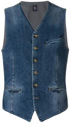 Eleventy denim buttoned waistcoat
