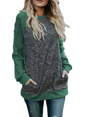MollyNory Colorblock Oversized T Shirts,Ladies Long Sleeve Tunics for Women for Leggings with Front Pockets,Blue 2XL