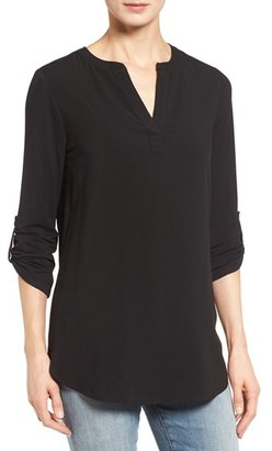 Women's Pleione Split Neck Roll Sleeve Tunic $59 thestylecure.com
