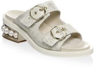Nicholas Kirkwood Casati Pearl Leather Two-Strap Sandals