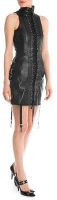 Moschino Lace-Up Leather Mini Dress