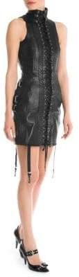 Moschino Lace-Up Leather Mini Dress