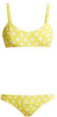 Lisa Marie Fernandez Genevieve Polka Dot Terry Towelling Bikini - Womens - Yellow Multi