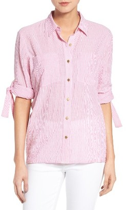 Women's Michael Michael Kors Roll Sleeve Stripe Shirt $88 thestylecure.com