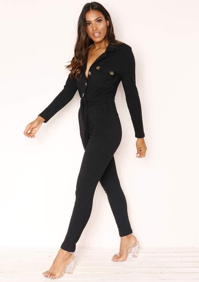 Missyempire Jeanie Black Ribbed Button Utility Jumpsuit
