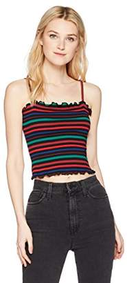 Hayden Rose Young Women's Teen Cropped Fitted Lettuce Edge Cami Top multicolored