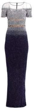 Pamella Roland Multi Ombre Sequin Gown