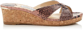 Jimmy Choo ALMER 50 Ballet Pink Printed Leather Mule