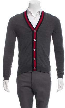 Gucci Web-Trimmed Wool Cardigan