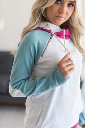 Ampersand Avenue DoubleHood Sweatshirt - Ocean Elbow Patch