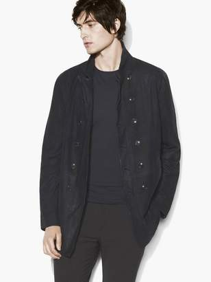 John Varvatos Leather Double-Breasted Coat