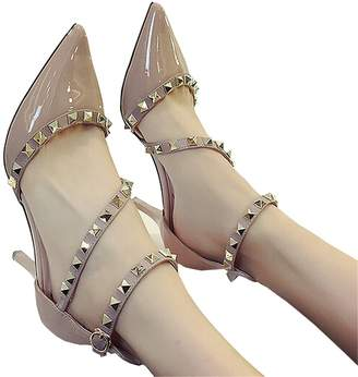 hotrilicoc New Woman High Heels Shoes Ladies Sexy Pointed Toe Pumps Buckle Nude Heels Dress Wedding Shoes 5