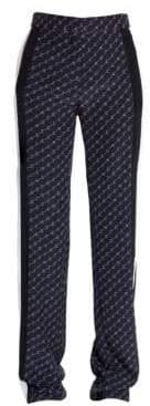 Stella McCartney Monogram Straight-Leg Silk Trousers