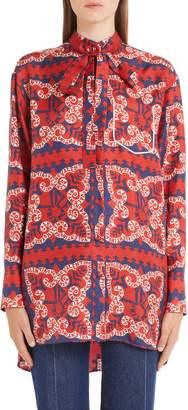Valentino Bandana Print Silk Twill Blouse