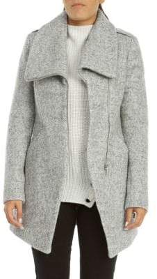 Dex Asymmetrical Zip-Up Boucle Coat