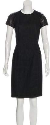 Ralph Lauren Black Label Leather-Accented Knee-Length Dress