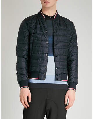 Moncler Striped-trim quilted down jacket