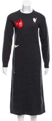 Celine Crochet-Accented Wool Dress