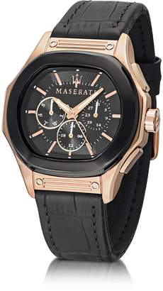 Maserati Fuoriclasse Multi-Function Dial and Black Eco-Leather Strap Men's Watch