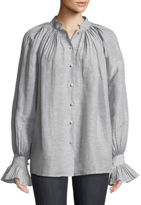 Co Striped Linen Button-Down Blouse