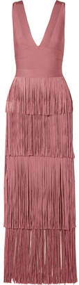 Herve Leger Fringed Bandage Gown - Antique rose