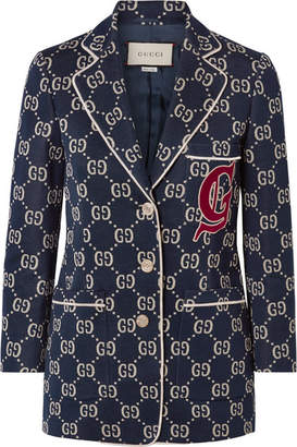 Gucci Appliquéd Cotton-jacquard Blazer - Navy