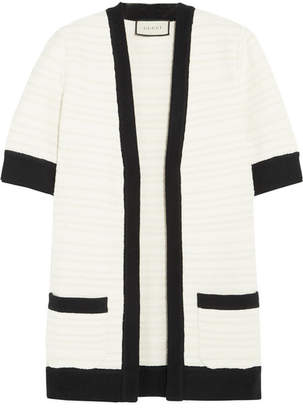 Gucci Ribbed Knit-trimmed Tweed Cardigan - Ivory