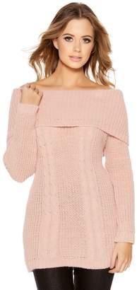 Quiz Pale Pink Cable Knit Bardot Jumper