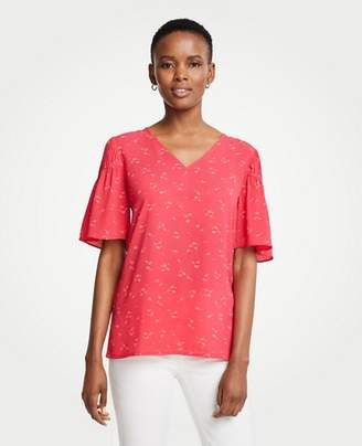 Ann Taylor Lily Leaves Shirred Sleeve Top