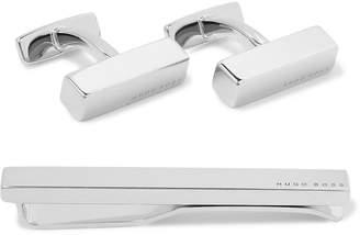 HUGO BOSS Silver-Tone Cufflinks and Tie Clip Set