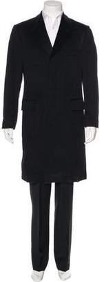 Saint Laurent Velvet-Trimmed Wool Overcoat