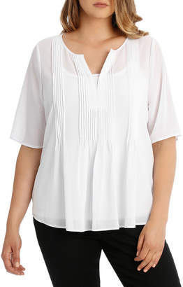 Tuck Front Frill Elbow Sleeve Top