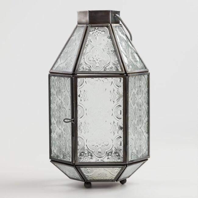 Medium Clear Embossed Glass Tabletop Lantern