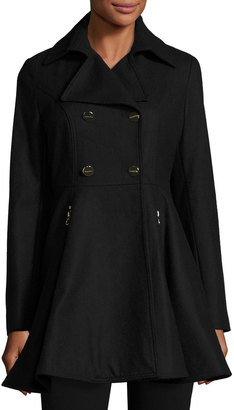 Laundry By Shelli Segal Fit-and-Flare Wool-Blend Coat, Black $170 thestylecure.com