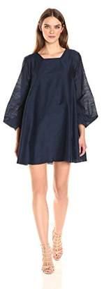 Halston Women's Long Sleeve Mini a-Line Dress with Cuff Detail