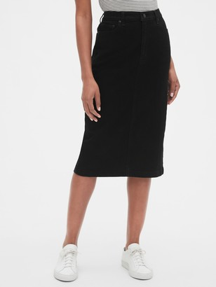 Gap High Rise Denim Midi Pencil Skirt
