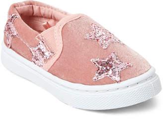 Capelli New York (Toddler Girls) Pink Appliqued Velvet Slip-On Sneakers