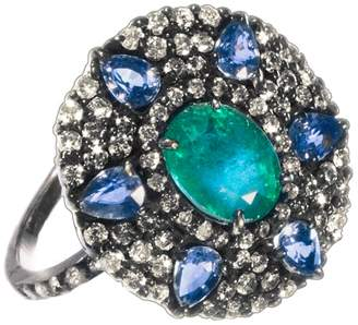 Meira T Women's Emerald Tanzanite Silver & Diamond Ring