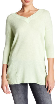 Kinross 3/4 Length Sleeve Deep V-Neck Cashmere Sweater $99.97 thestylecure.com