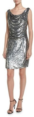 Parker Sleeveless Sequined Cowl Sheath Dress, Antique Silver $495 thestylecure.com
