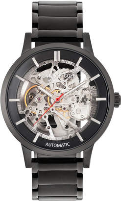 Kenneth Cole New York Men's Automatic Black Ion-Plated Stainless Steel Bracelet Watch 44mm